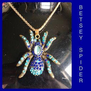 Blue Spider Tarantula Sweater Necklace